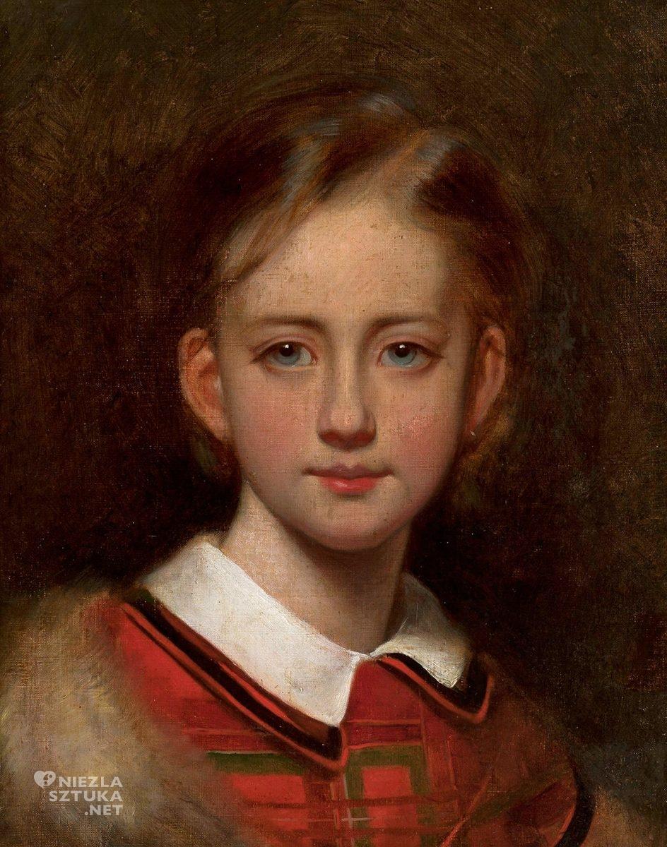 Artur Grottger, Portret dziewczynki, sztuka polska, malarstwo polskie, XIX wiek, Niezła Sztuka
