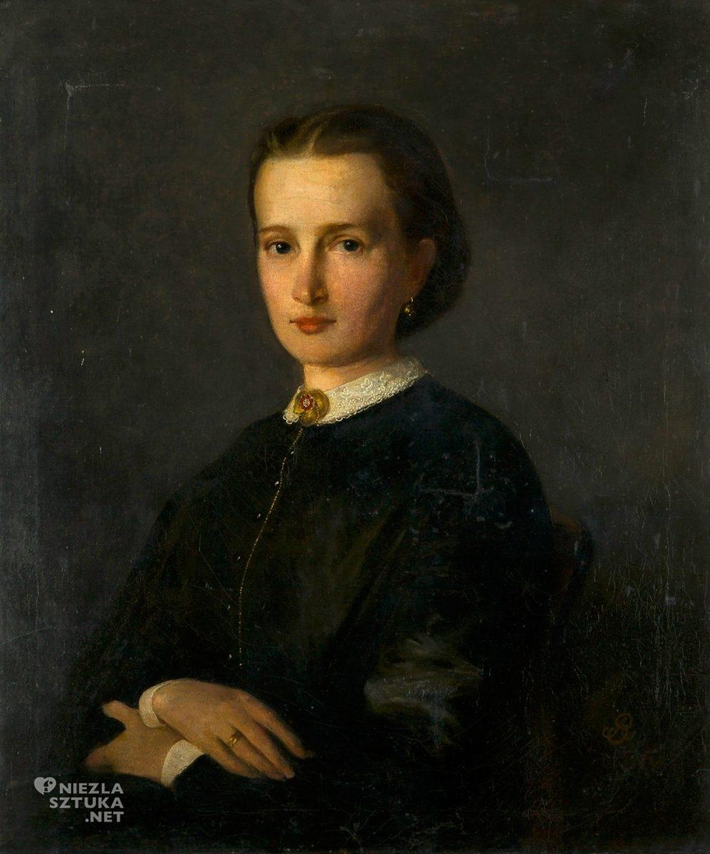 Artur Grottger, Portret kobiety, sztuka polska, malarstwo polskie, Niezła Sztuka