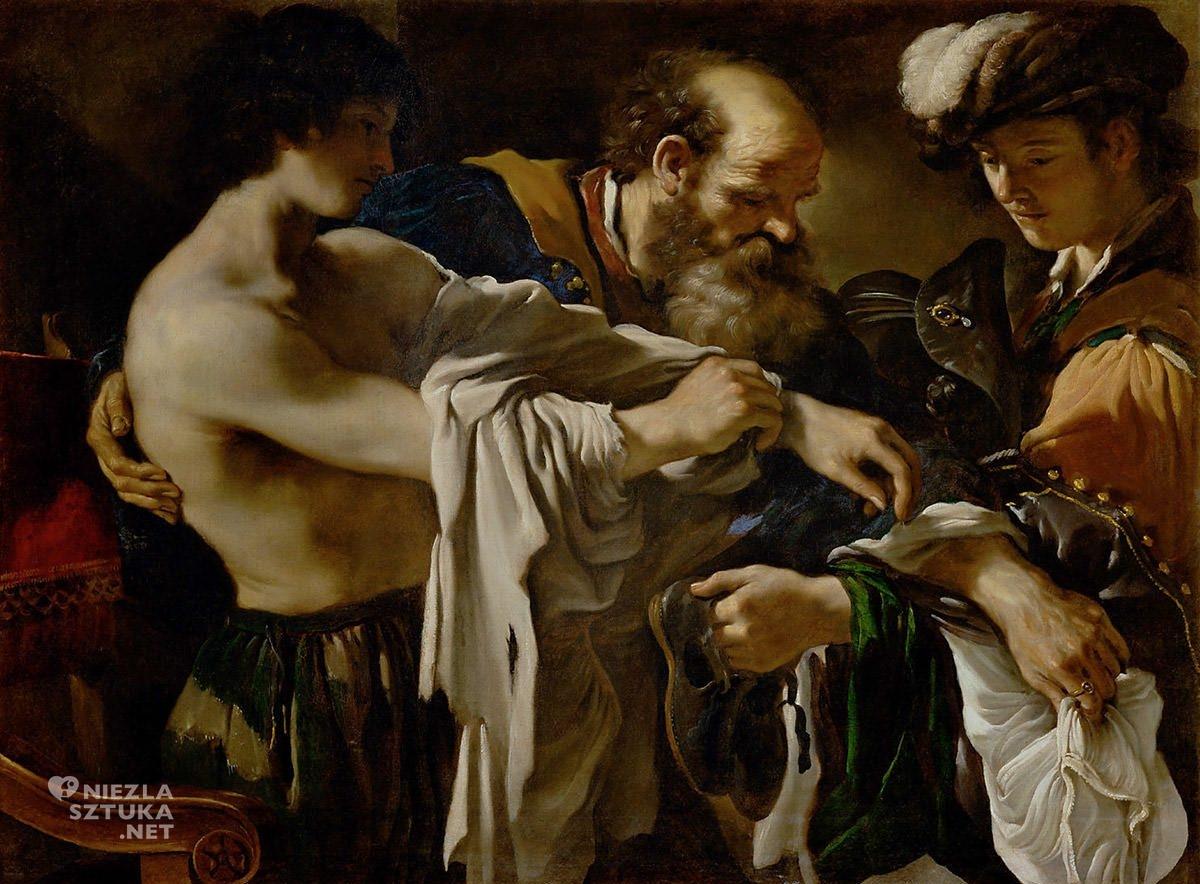 Guercino, Giovanni Francesco Barbieri, Powrót syna marnotrawnego, malarstwo religijne, barok, sztuka włoska, Niezła Sztuka
