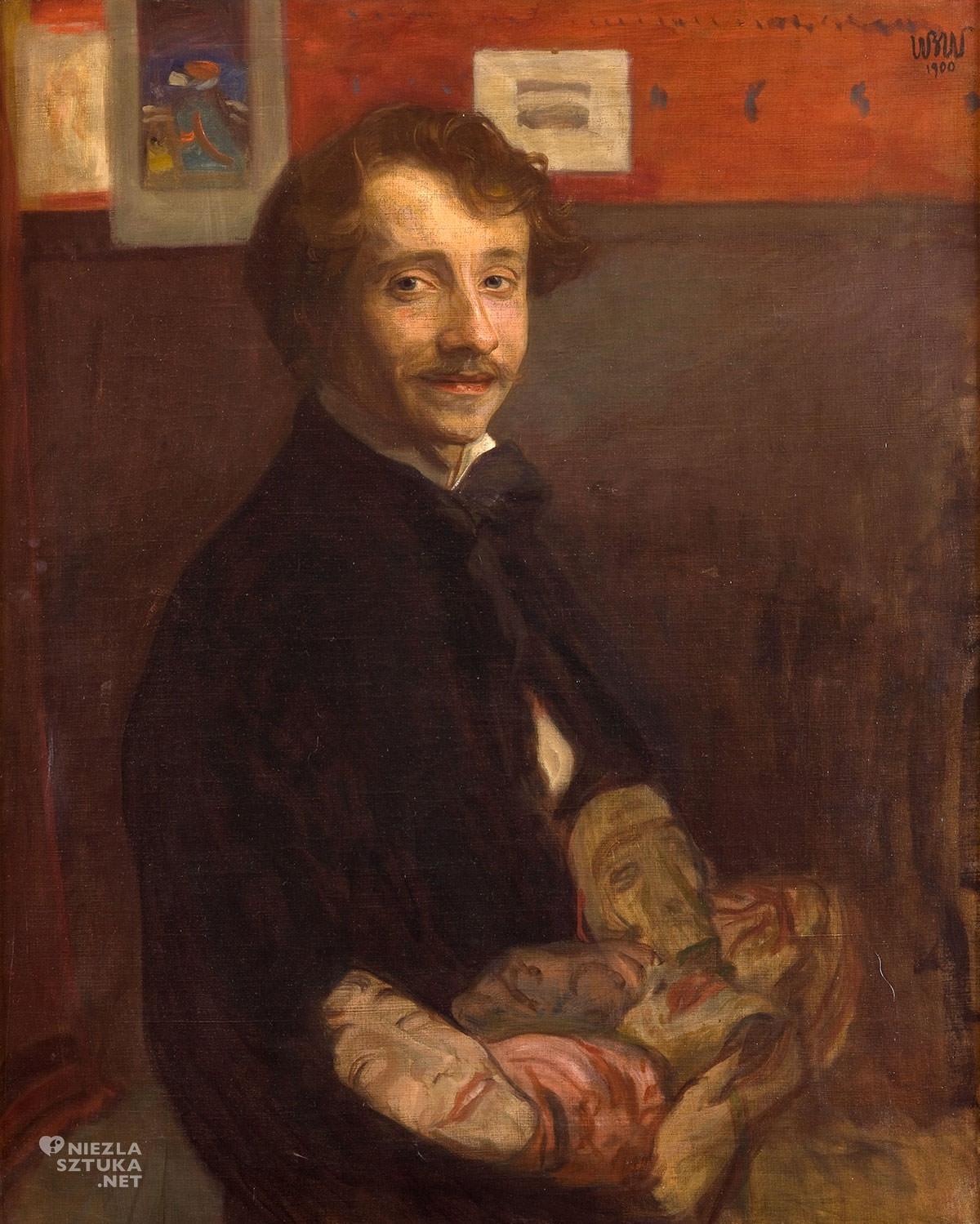 Wojciech Weiss, Autoportret z maskami, sztuka polska, malarstwo polskie, Niezła Sztuka