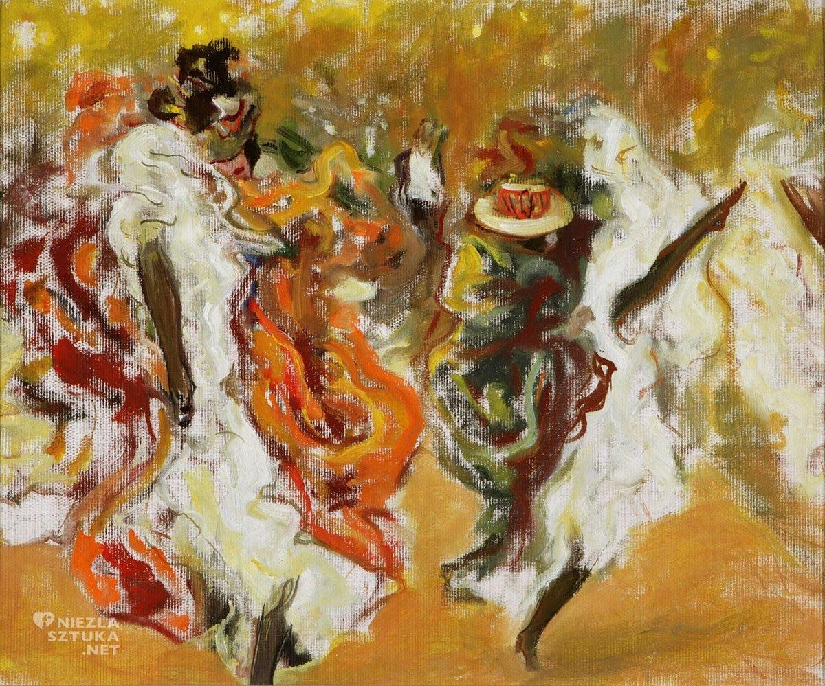 Wojciech Weiss, szkic do obrazu, Kankan w Moulin Rouge, Paryż, kabaret, Niezła Sztuka