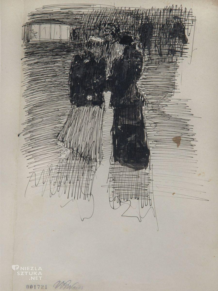 Wojciech Weiss, Paryż, scena uliczna, szkic, sztuka polska, Niezła Sztuka