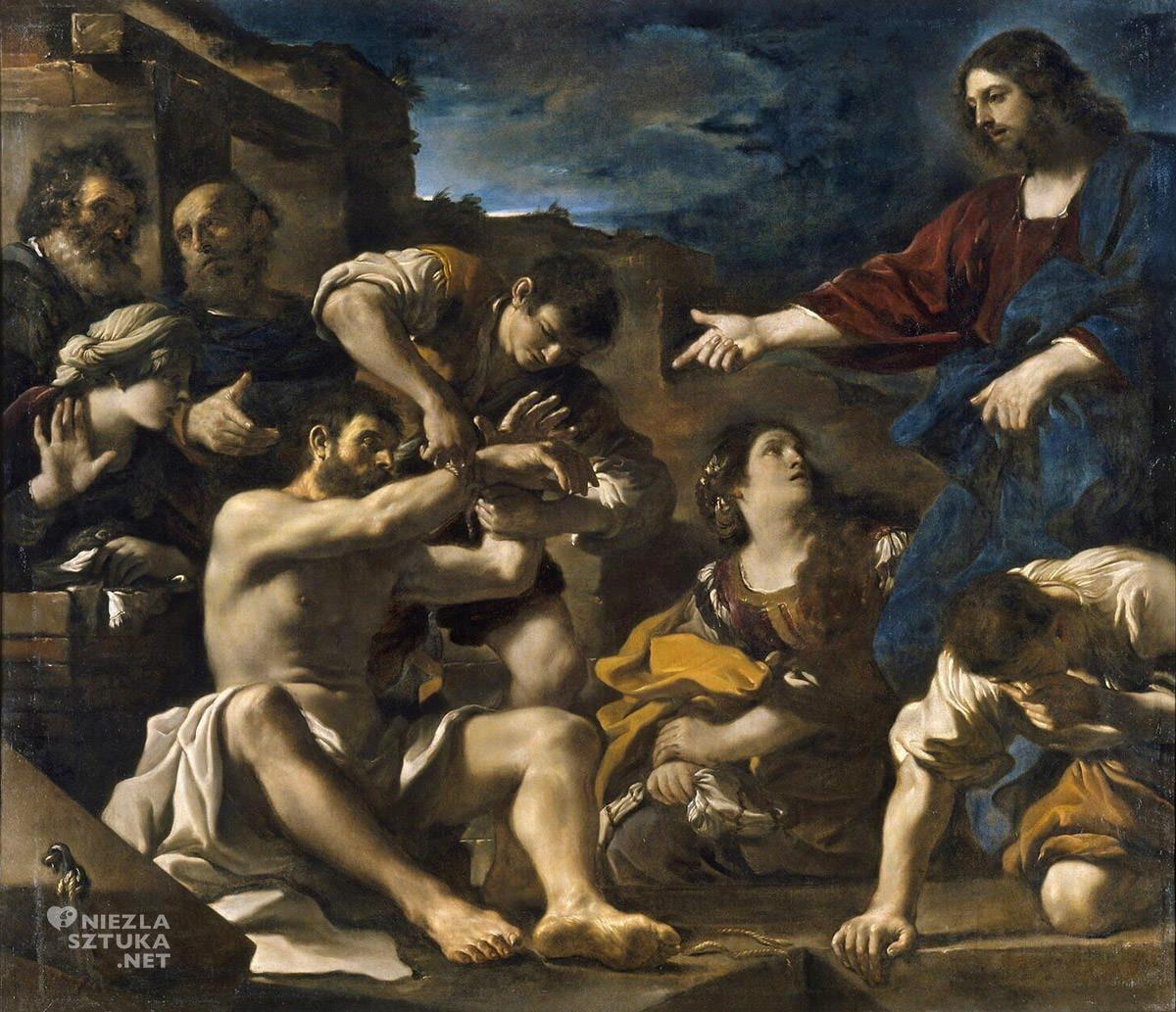 Guercino, wskrzeszenie Łazarza, Giovanni Francesco Barbieri, sztuka włoska, malarstwo włoskie, barok, niezła sztuka