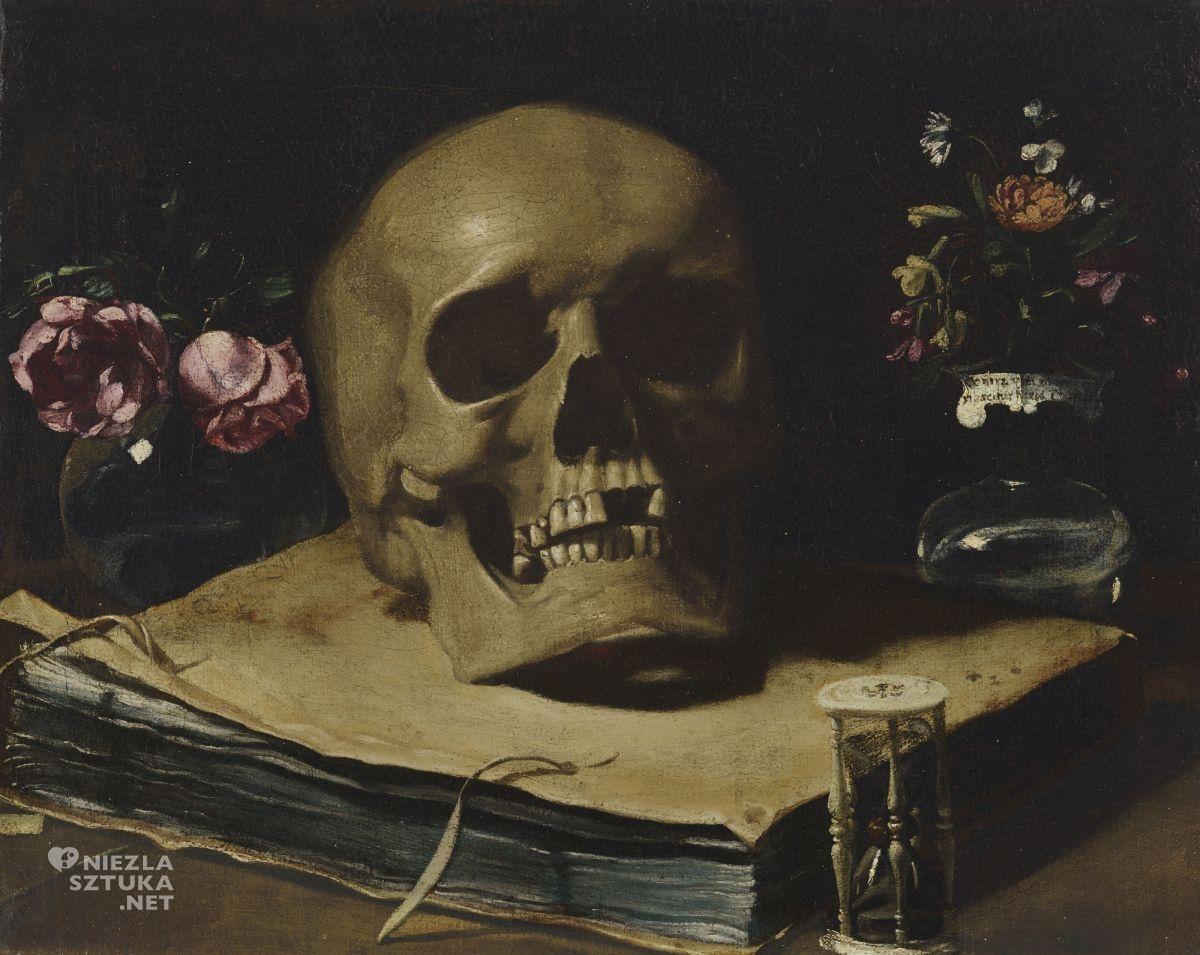Guercino, Martwa natura z czaszką, malarstwo włoskie, niezła sztuka