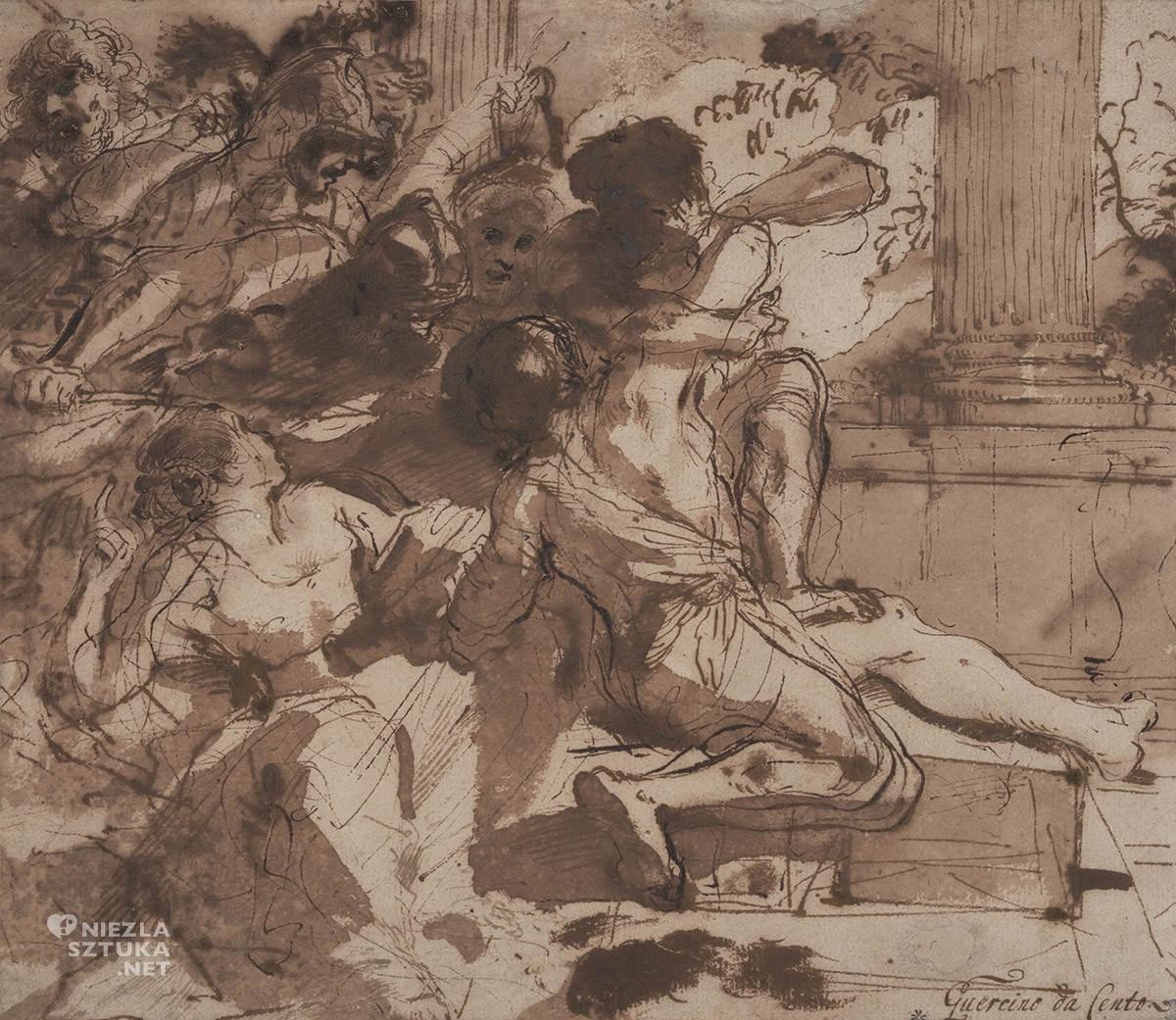 Guercino, Samson, Samson pojmany przez Filistynów, Giovanni Francesco Barbieri, sztuka włoska, malarstwo włoskie, barok, niezła sztuka