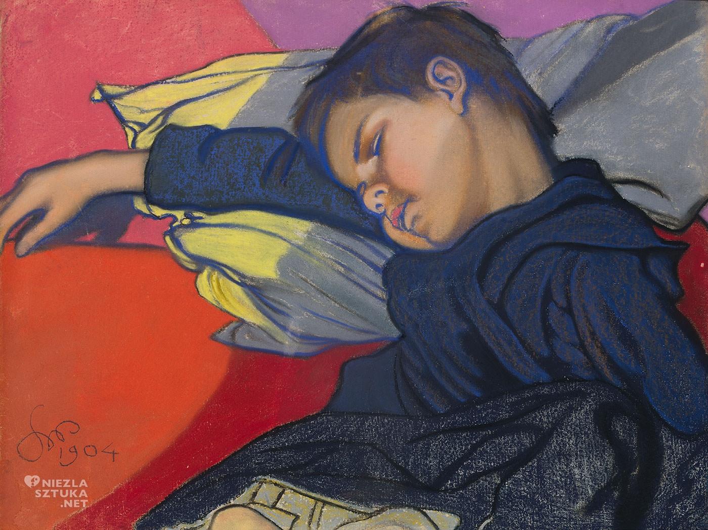 Stanisław Wyspiański Śpiący Mietek, syn Wyspiańskiego, Mietek Wyspiański, dzieci w malarstwie, polska sztuka, Niezła sztuka