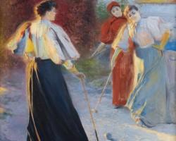 Leon Wyczółkowski, krokiet, gra w krokieta, luminizm, Kraków, kobiety w sztuce, sport w sztuce, niezła sztuka