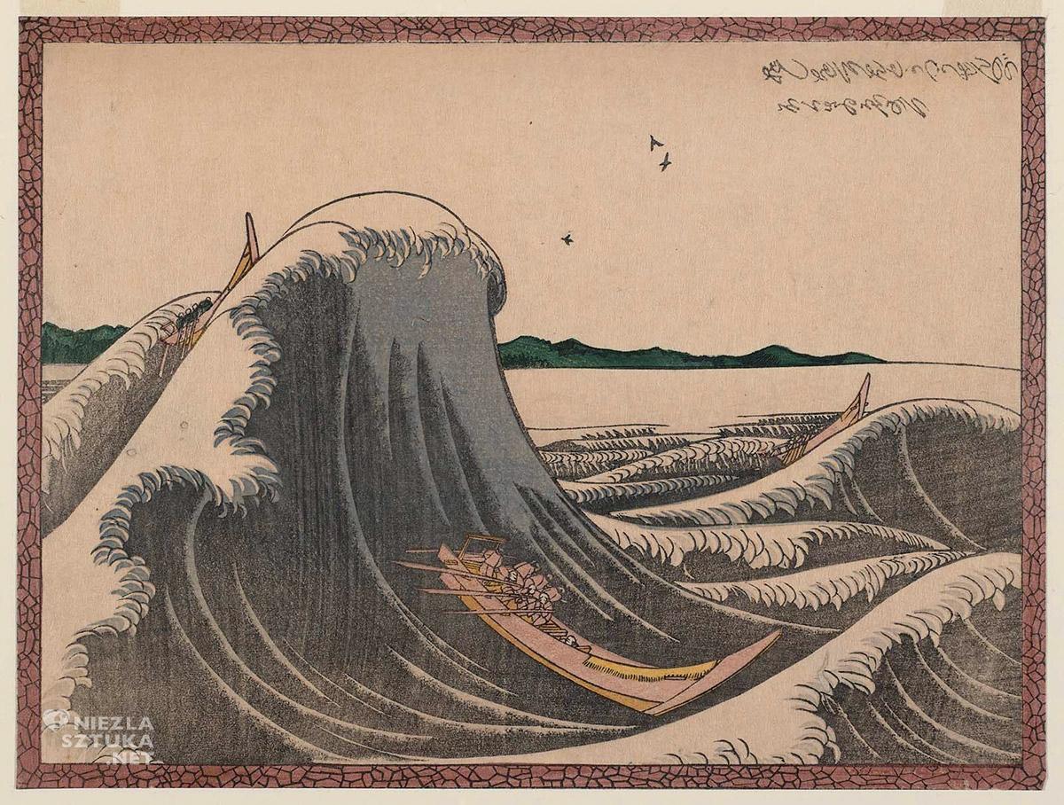 Hokusai, Fast Cargo Boat Battling The Waves,Wielka Fala, sztuka japońska, Niezła Sztuka