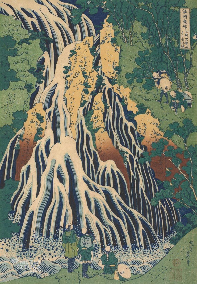 Hokusai Katsushika, Pielgrzymi w wodospadzie Kirifuri na górze Kurokami w prowincji Shimotsuke, sztuka japońska, Niezła Sztuka