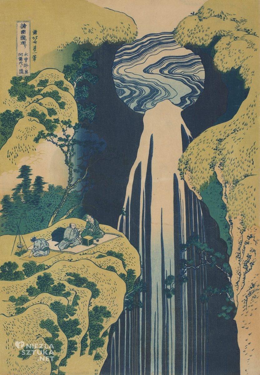 Hokusai Katsushika, The Amida Falls in the Far Reaches of the Kisokaidō Road, sztuka japońska, Niezła Sztuka