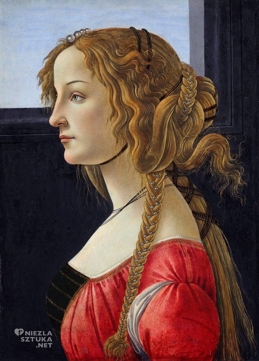 Sandro Botticelli, portret kobiety, Simonetta Vespucci, niezła sztuka