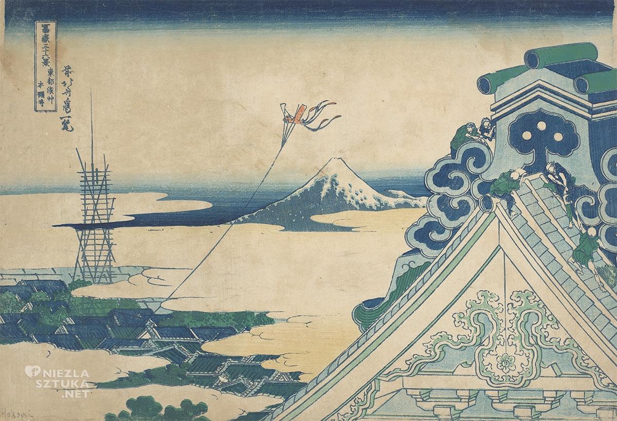 Hokusai Katsushika, Widok Fuji ze świątyni Hongan-ji w Asakusa w Edo, widoki na górę Fuji, sztuka japońska, Niezła Sztuka
