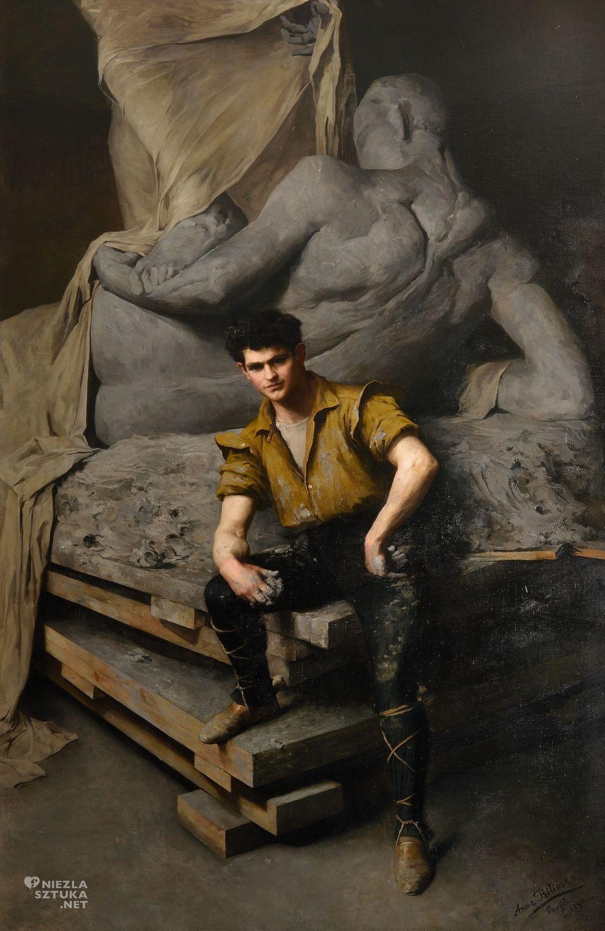 Anna Bilińska, Portret rzeźbiarza George'a Greya Bernarda w pracowni, The State Museum of Pennsylvania, sztuka polska, malarstwo polskie, kobiety w sztuce, niezła sztuka