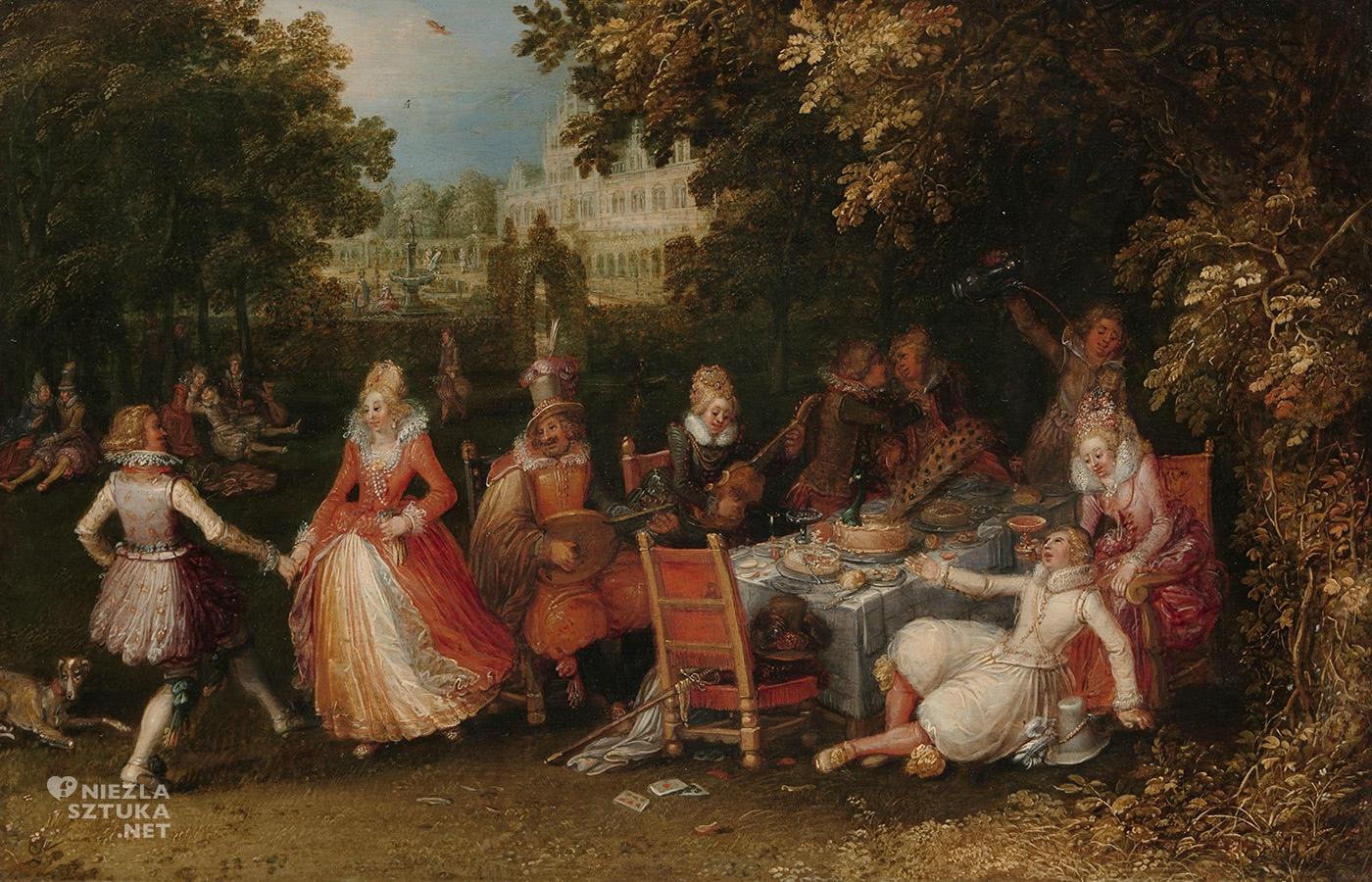 David Vinckboons, Eleganckie przyjęcie w kwiecistym ogrodzie pałacowym, zmysły, zapach, Niezła Sztuka