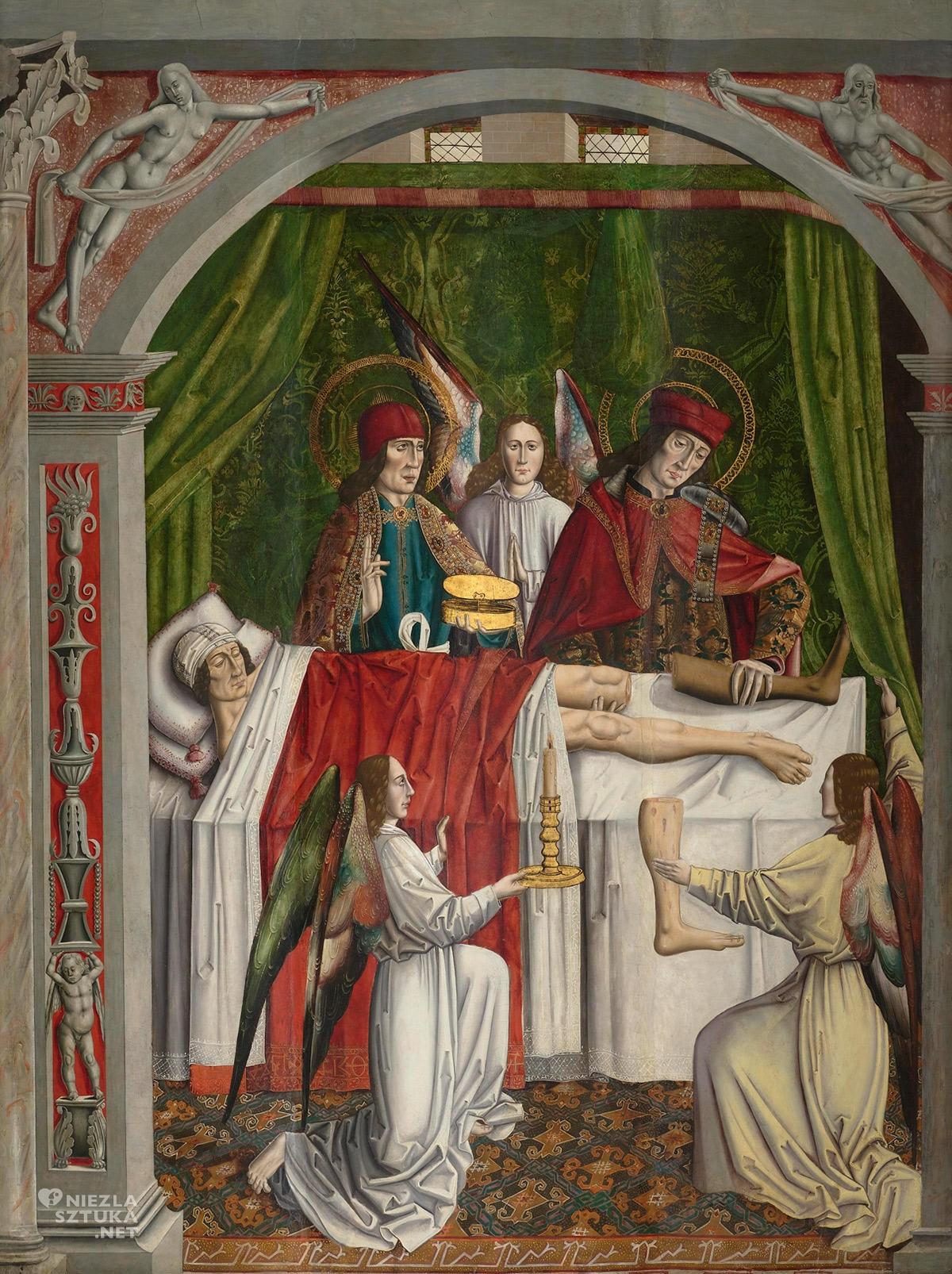 Mistrz z Los Balbases, Sen kościelnego, święty Kosma, święta Damian, cud czarnej nogi, malarstwo religijne, Niezła Sztuka