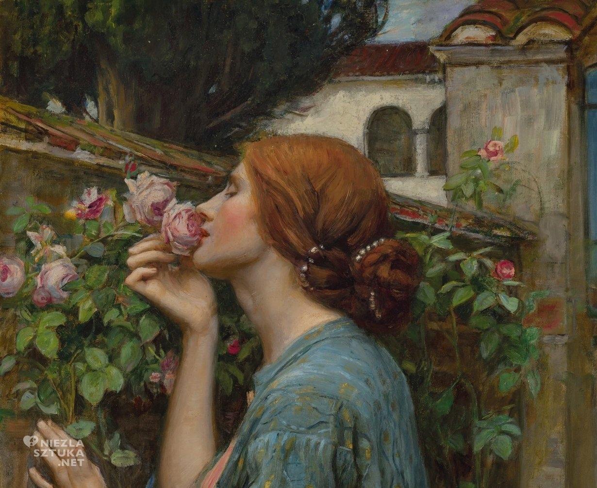 John William Waterhouse, Dusza róży, Moja słodka róża, prerafaelici, Anglia, Niezła Sztuka