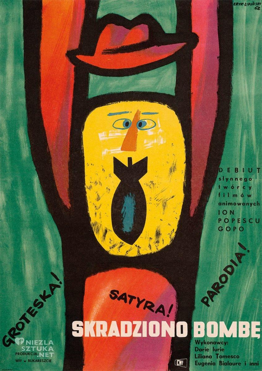 Eryk Lipiński, plakat filmowy, Skradziono bombę, film rumuński, polska szkoła plakatu, Niezła Sztuka