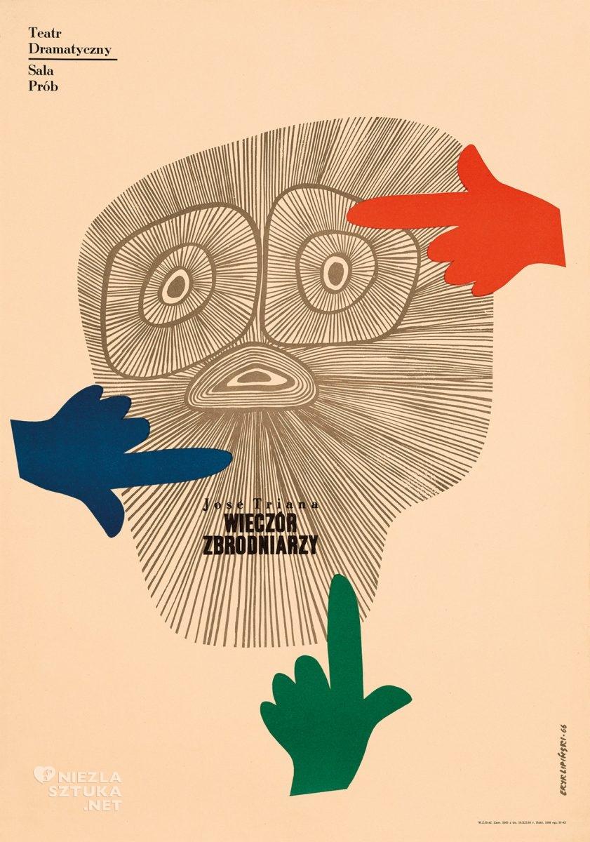 Eryk Lipiński, plakat teatralny, Jose Triana, Wieczór zbrodniarzy, Teatr Dramatyczny, Niezła Sztuka