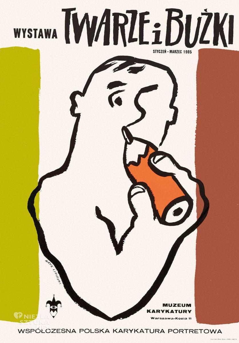 Eryk Lipiński, plakat, wystawa, Twarze i buźki, karykatura, muzeum karykatury w Warszawie, Niezła Sztuka
