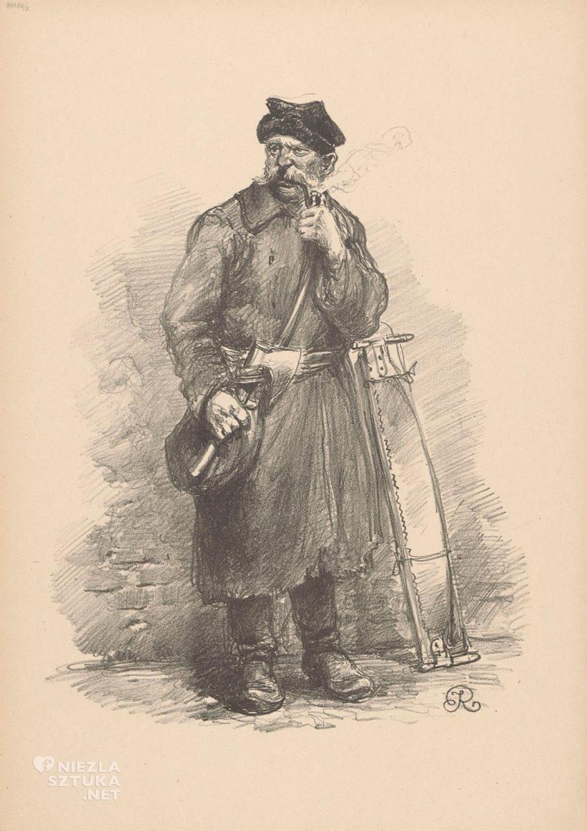 Józef Rapacki, Drwal, Typy warszawskie, sztuka polska, rysunek, Niezła Sztuka