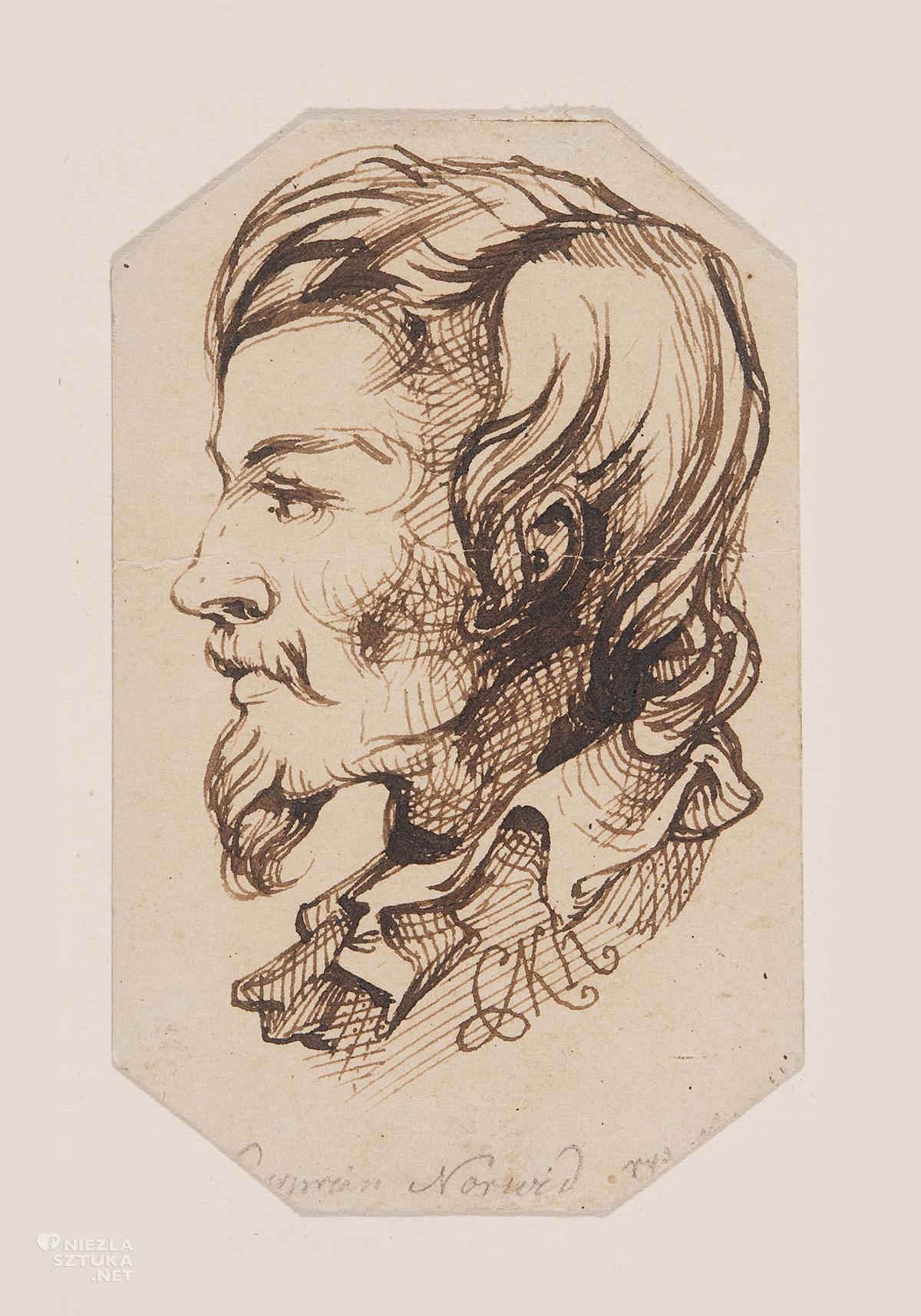 Cyprian Kamil Norwid, Autoportret, rysunek, Niezła Sztuka