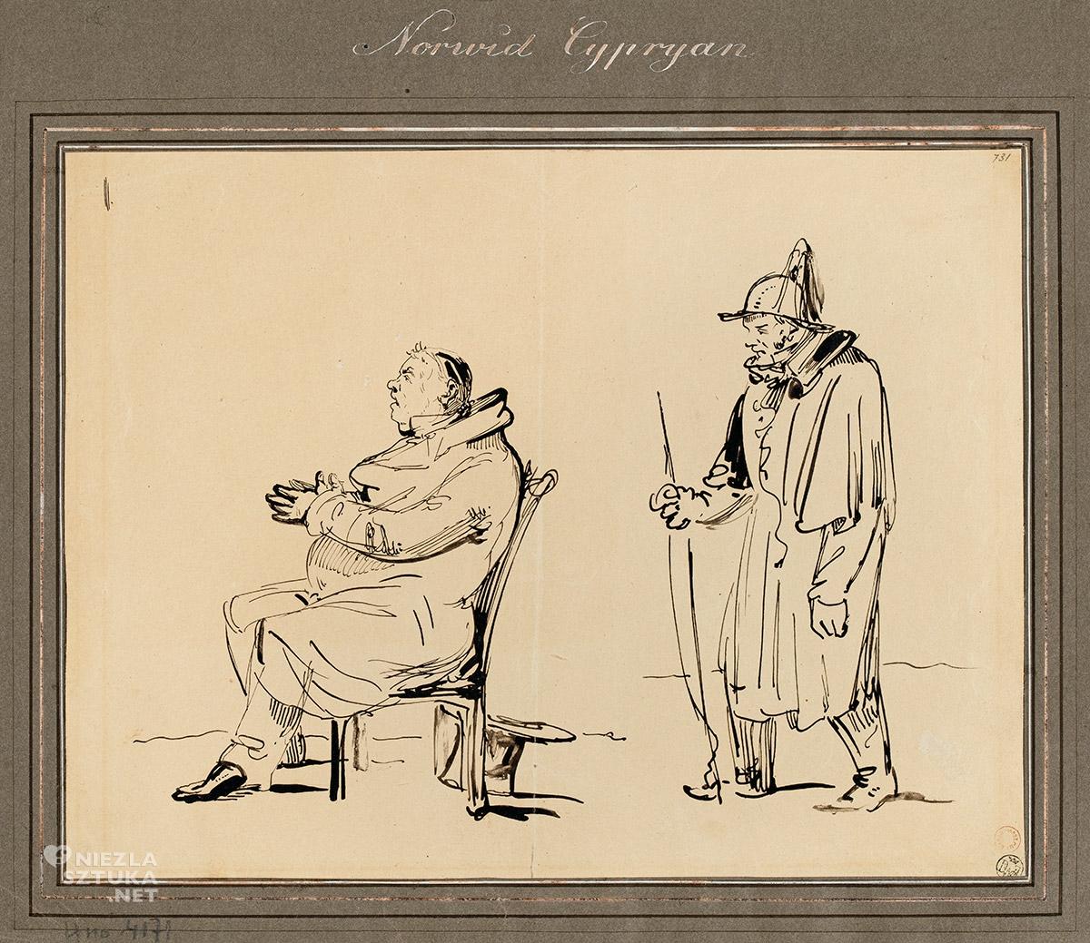 Cyprian Kamil Norwid, Stangret stojący za siedzącym na krześle mężczyzną, rysunek, sztuka polska, Niezła Sztuka