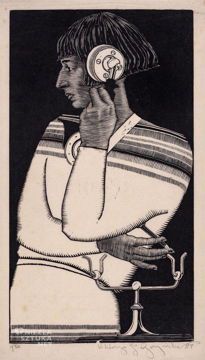 Wiktoria Goryńska, Autoportret z telefonem, grafika, sztuka polska, kobiety w sztuce, Niezła Sztuka