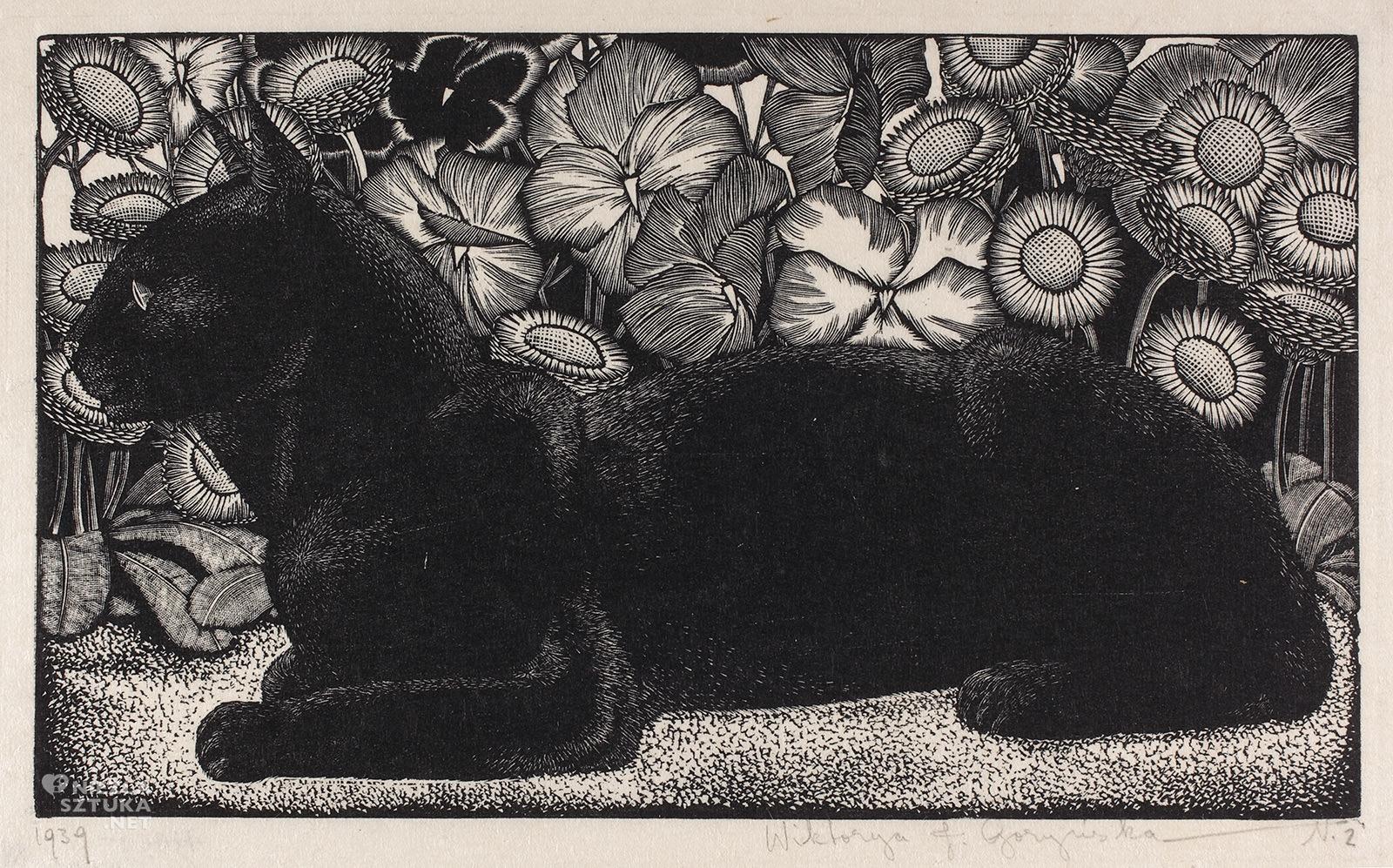 Wiktoria Goryńska, Czarny kot na tle kwiatów, koty w sztuce, kobiety w sztuce, Niezła Sztuka