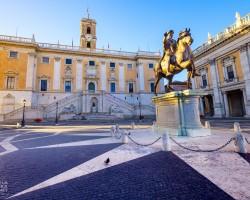 Piazza del Campidoglio, Kapitol, Rzym, Marek Aureliusz, pomnik konny Marka Aureliusza, niezła sztuka